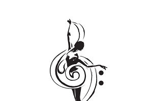 A dancer twirling with a treble clef