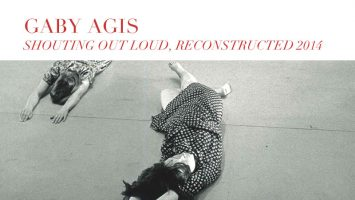 Two woman lay on the floor, promotional image for Shouting Out Loud, Reconstructed 2014, by Gaby Agis