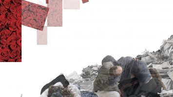 a collage of bodies and rubble on a white background