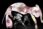 A collage of bodies dancing and a floral pink elephant