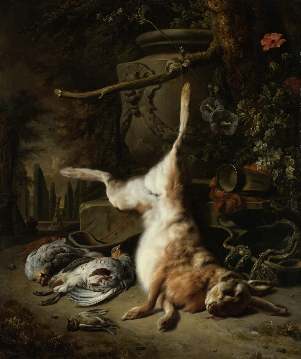 Still life with hare and other game 1697 by Jan Weenix