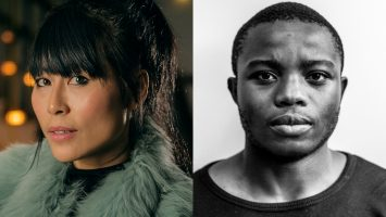 two side-by side portraits: Moi Tran, a Vietnamese/Chinese woman wearing a blue fur coat, and Bakani Pickup, a dark-skinned Black man against a bright white background